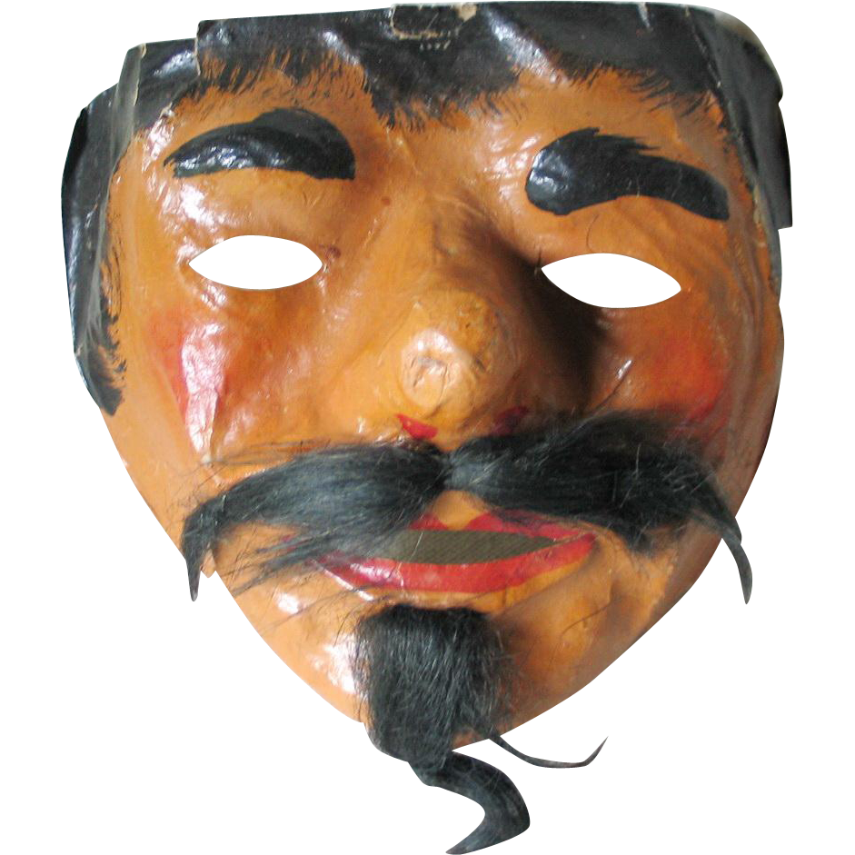 Vintage 1920s Postwar WWI German Devil Pirate Halloween Costume Mask Hand Painted