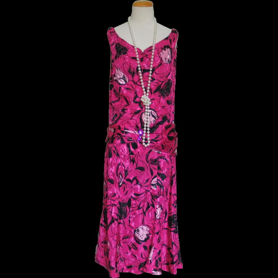 Hot Pink and Black Print Tulip Skirt Dress Halloween Costume 1920s Flapper M