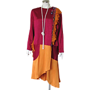 1920s Flapper Dress Costume for Halloween Masquerade Theater Orange Maroon