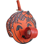 Authentic Vintage 1940s Orange and Black Jack-o-lantern with Ringlets Halloween Novelty Blow Out Toy Party Favor