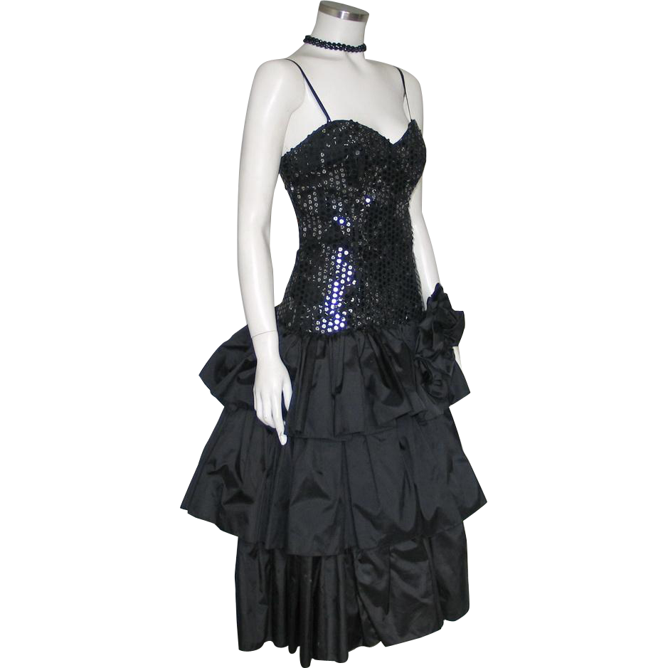 Vintage 1980s Black Triple Tiered Ruffled Sequined Party Dress Lounge Singer Flamenco Dancer Halloween Costume