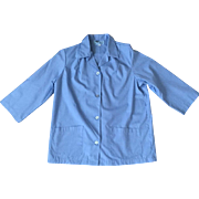 Vintage Blue Uniform Jacket Halloween Costume Medical Worker Beautician Lab Coat