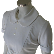 Vintage 1960s White Waitress Hair Stylist Beautician Uniform Halloween Costume Top Peter Pan Collar Bib Front S