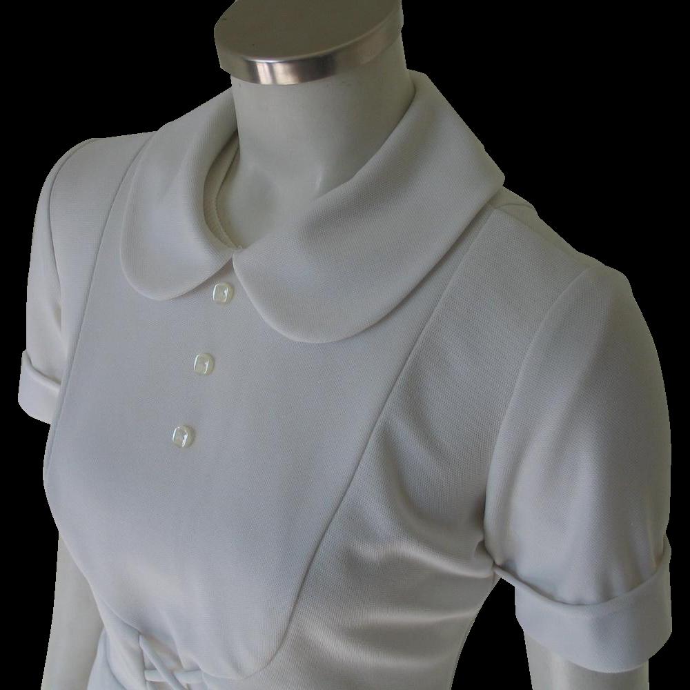 Vintage 1960s White Waitress Hair Stylist Beautician Uniform Halloween Costume Top Peter Pan Collar Bib Front S