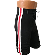 Vintage Champion Athletic Black Football Pants with Red and White Stripes Lace Front M