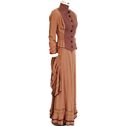 1880s Victorian Inspired Two Tone Brown Dress Bodice Skirt Halloween Theater Costume Display XS