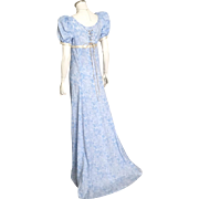 Blue Brocade Empire Gown Dress with Short Train and Gold White Trim Lace Up Back Costume Halloween Ren Faire XS S
