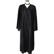 Vintage Full Length Black Choir Robe Halloween Costume Witch Wizard Sorcerer