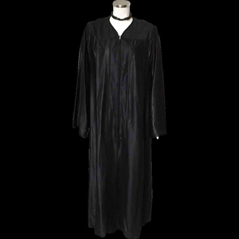 Vintage Full Length Black Choir Robe Halloween Costume Witch Wizard Sorcerer