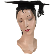 Vintage Black Mortar Board Mortarboard Graduation Cap Hat with Tassel Costume Halloween
