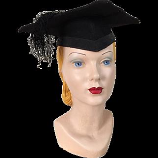 Vintage Black Graduation Cap Hat Mortar Board Mortarboard