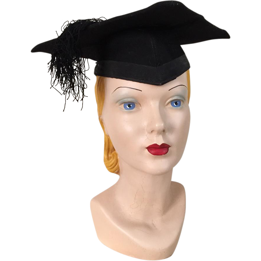 Vintage Black Graduation Cap Hat Mortar Board Mortarboard
