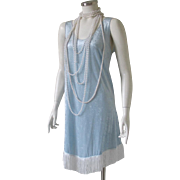 Vintage Pale Blue Crushed Velvet Knit Tank Flapper Dress with Fringe Hem Costume