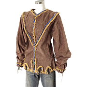 Vintage Corduroy Fringed Shirt with Bishop Sleeves Sequin Trim and Joker Hem Costume Halloween Theater M