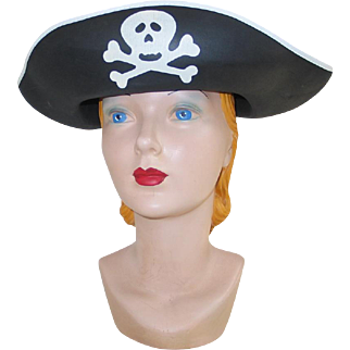 Black and White Halloween Theater Costume Pirate Hat with Skull and Crossbones
