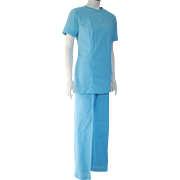 Vintage 1960s Pale Blue Pants Set Tunic Dental Assistant Uniform by Crest M