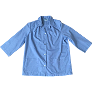 Vintage Blue Uniform Jacket Halloween Costume Medical Worker Beautician L XL