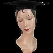 Vintage Black Mortar Board Mortarboard Graduation Cap Hat with Tassel Costume Halloween