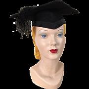 Vintage Black Graduation Cap Hat Mortar Board Mortarboard Halloween Costume