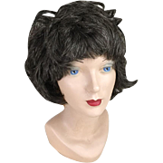 Vintage 1960s 1970s Dark Brunette with Gray Streaks Highlights Shag Wig Hairpiece