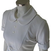 Vintage 1960s White Waitress Hair Stylist Beautician Uniform Top Peter Pan Collar Bib Front Halloween Theater Costume S