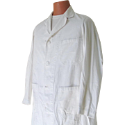 Vintage Ottenheimer All Cotton White Research Medical Lab Coat Men Unisex L XL Halloween Theater
