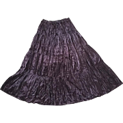 Vintage 1980s Black Purple Crushed Velveteen Broomstick Skirt M L
