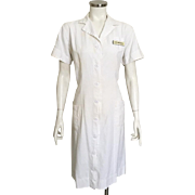 Vintage 1950s White Cotton Button Front Princess Cut Nurse's Dress by Angelica M L