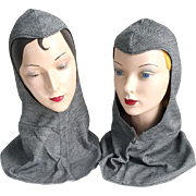 Vintage 1970s Halloween Costume Knight's Hoods Hats