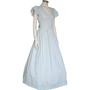 Vintage 1970s Blue White Floral Dotted Swiss Maxi Dress Prairie Dress S