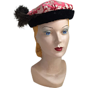 Vintage 1960s Hot Pink Gold and Cream Brocade Hat by Sterling Lindner Davis Repurposed as a Medieval or Renaissance Costume Hat with Feather