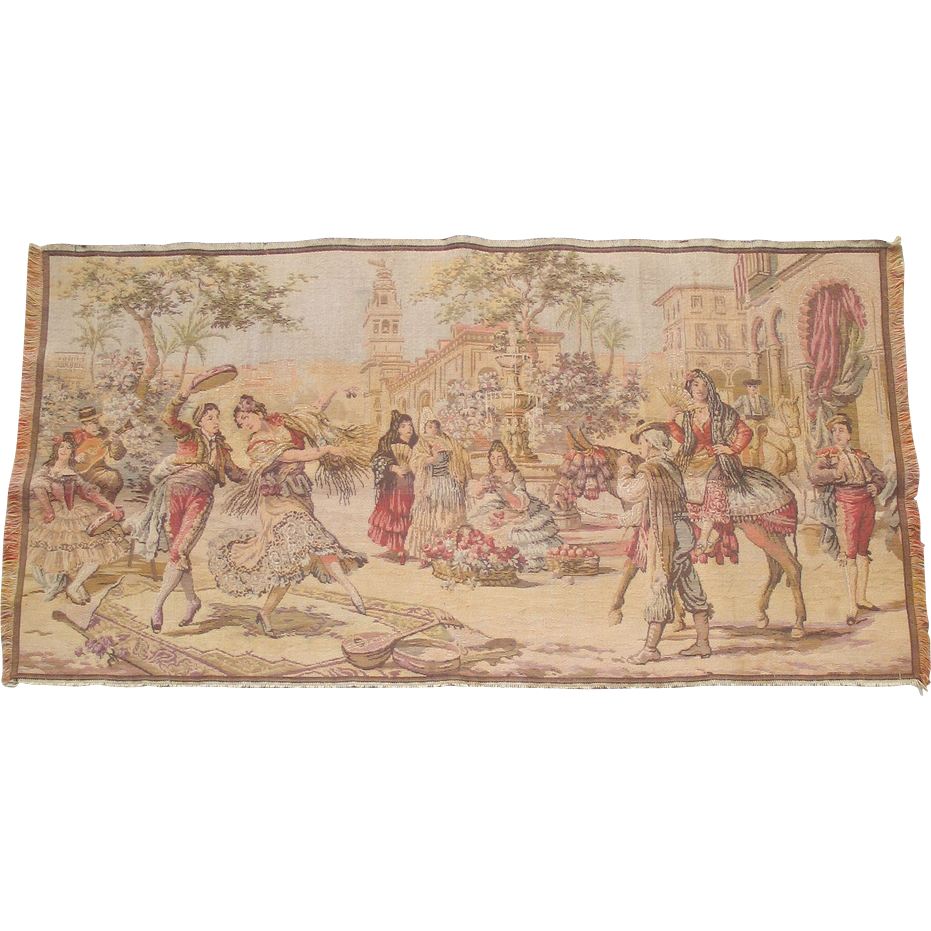 Vintage Tapestry Spanish Themed Scene Flamenco Matadors Made in Belgium
