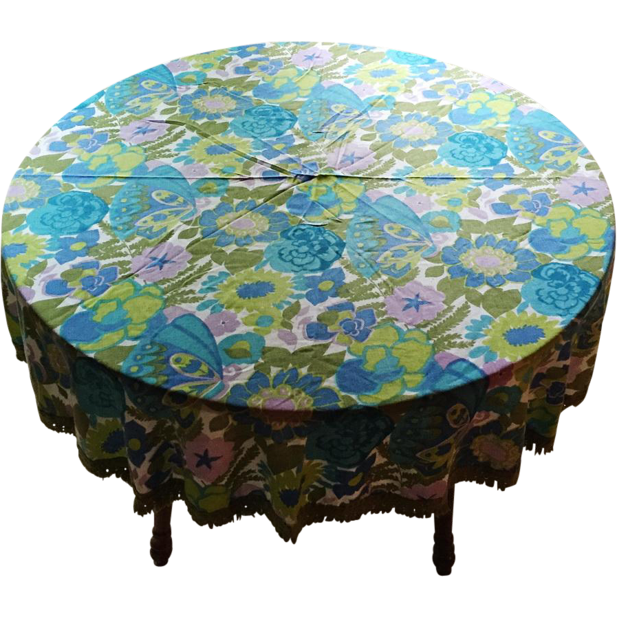 Vintage 1960s Round Tablecloth with Mod Floral Print and Fringed Hem