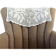 Vintage 1920s Creamy White Filet Crochet Lace Antimacassar