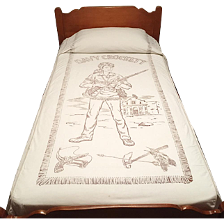 Vintage 1950s Davy Crockett Frontiersman Twin Bedspread Cover Summer Weight