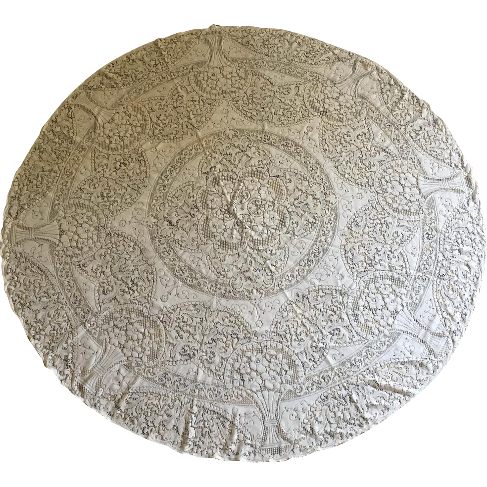 Vintage 1950s Quaker Lace Cloth Circular Round Creamy White Floral Scroll Design Tablecloth