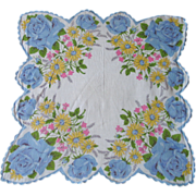 Vintage Handkerchief with Blue Roses & Yellow Daisies Print and Fancy Scalloped Hem