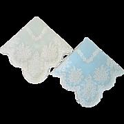 Vintage 1940s Sheer Pastel Pair of Flocked Spring Lily of the Valley Flower Hankies Pocket Scarf