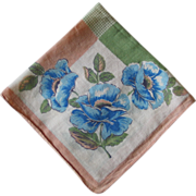 Vintage 1940s Blue Peach and Sage Green Floral Handkerchief