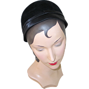 Vintage 1930s Black Gage Close Hat with Satin Edging