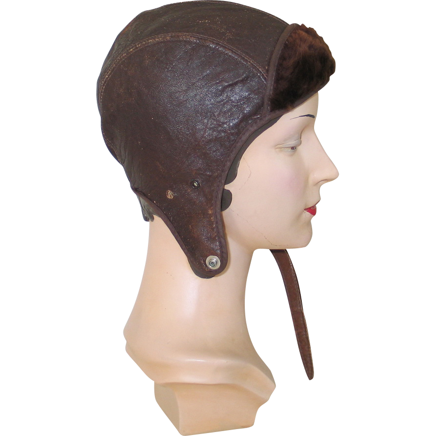Vintage 1940s Aviator or Motorcycle Leather Cap with Fur Trim