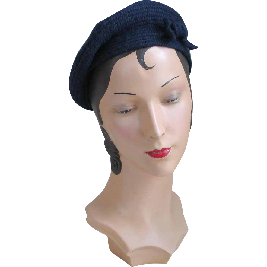 "Vintage 1960s ""An Everitt Original"" Navy Blue Coiled Wool Beret with Self Bow Tie Trim"