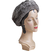 Vintage Cozy Warm Winter Hat Gray Rabbit Fur from France NWT L