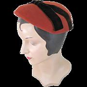 Vintage 1950s Dark Orange Wool Hat with Brown Velvet Ribbon Trim