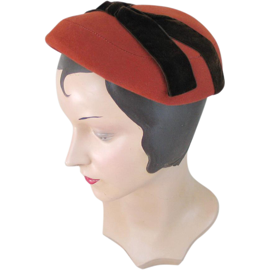 Vintage 1950s Dark Orange Wool Hat with Brown Velvet Ribbon Trim