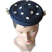 Vintage 1950s Navy Blue Spring Summer Straw Hat with Delicate Cream White Flowers