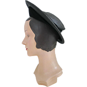 Vintage 1940s Pointed Front Black Woven Straw Hat with Knit Trim by Winner
