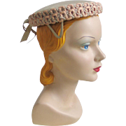 Vintage 1950s Tan Beige Short Crowned Summer Pillbox Hat with Fancy Loop Trim and Tail