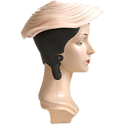 Vintage 1950s Whisper Pink Tiered Circular Platter Hat by Yvette New York