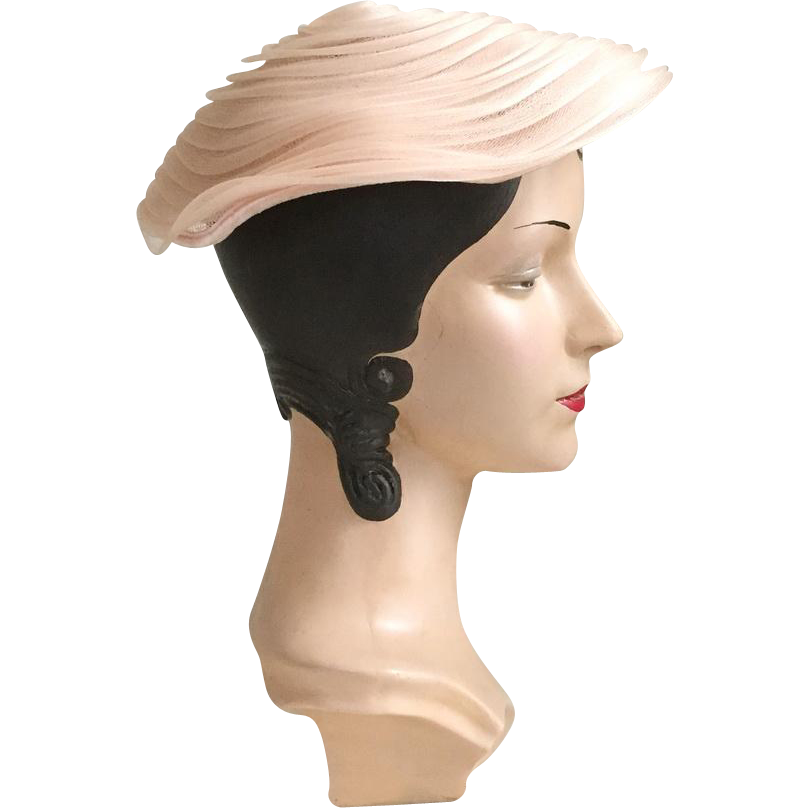 Vintage 1950s Whisper Pink Tiered Circular Platter Hat by Yvette New York